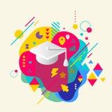 Akademischer Hut auf abstraktem buntem beschmutztem Hintergrund mit unterscheiden sich Stockfoto