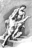 Akademisk teckning figures män perspektiv Arkivfoton