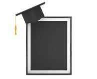 Akademiskt lock för avläggande av examen med den tomma fotoramen Royaltyfria Bilder