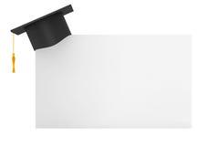 Akademiskt lock för avläggande av examen med tomt papper Royaltyfri Fotografi