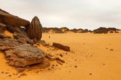 Akakus (Acacus) Mountains, Sahara, Libya. Bizarre sandstone rock formations royalty free stock images