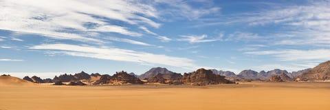 Akakus (Acacus) Mountains, Sahara, Libya. Panoramic View stock photography