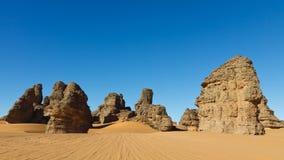 Akakus (Acacus) Mountains, Sahara, Libya. Bizarre sandstone rock formations royalty free stock photography