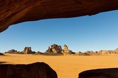 Akakus (Acacus) Mountains, Sahara, Libya. Bizarre sandstone rock formations royalty free stock photo