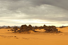 Akakus (Acacus) Mountains, Sahara, Libya. Bizarre sandstone rock formations stock image
