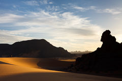Akakus (Acacus) Mountains, Sahara, Libya at Sunset Royalty Free Stock Image