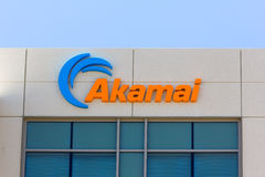 Akamai byggnad i Silicon Valley Arkivfoto