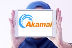 Akamai Technologies logo. Logo of Akamai Technologies on samsung tablet holded by arab muslim woman. Akamai Technologies, Inc. is an American content delivery Stock Photo