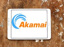 Akamai Technologies logo. Logo of Akamai Technologies on samsung tablet on wooden background. Akamai Technologies, Inc. is an American content delivery network Stock Images