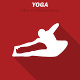 Akarna Dhanurasana. Yoga workout icon with long shadow. Vector illustration Royalty Free Stock Photos