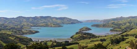 Akaroa港口,新西兰全景  免版税库存图片