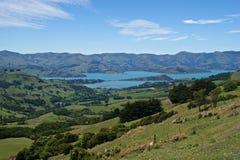 Akaroa,新西兰海岸线  免版税库存图片