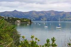 Akaroa Hafen in Neuseeland Lizenzfreie Stockbilder