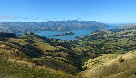 Akaroa Harbour Panorama in Autumn New Zealand royalty free stock images