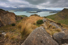 Akaroa Harbour from the Scenic Rim Royalty Free Stock Photography