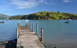 Akaroa Jetty, Canterbury New Zealand Stock Images