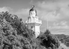 Akaroa light house. Sky trees black white stock photos
