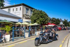 Street scene in the town of Akaroa, a tourist destination in New Zealand royalty free stock photography