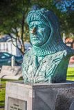 A bust of Frank Worsley stands in his home town of Akaroa, New Zealand. stock photography