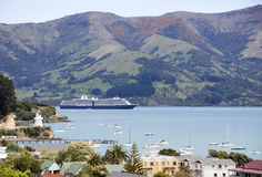Akaroa Resort Town. The view of a cruise ship in Glen Bay and Akaroa resort town (New Zealand Stock Photos