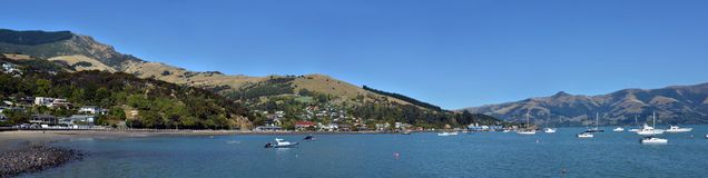 Akaroa Town Super Wide Panaorama, New Zealand royalty free stock image