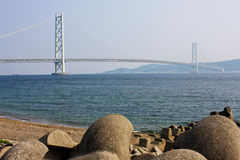 Akashi bridge. View of the Akashi bridge. The longest 2-level cross-sea bridge in the world Royalty Free Stock Images