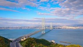 Akashi Bridge in Kobe, Japan stock video footage