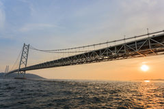 Akashi Kaikyō Bridge at sunset Stock Photography