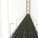Akashi Kaiky Bridge on white. 3D illustration Royalty Free Stock Photos