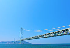 Akashi Kaikyo Bridge with clear blue sky Royalty Free Stock Photography