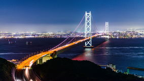Akashi Kaikyo Bridge. In Kobe, Japan stock video footage