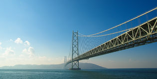 Akashi Kaikyo Bridge in Kobe, Japan. Stock Images