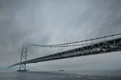 Akashi Kaikyo Bridge spans the Inland Seto Sea.Selective focus. Stock Photo