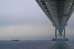 Akashi Kaikyo Bridge spans the Inland Seto Sea.Selective focus. Stock Photography