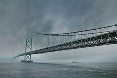 Akashi Kaikyo Bridge spans the Inland Seto Sea.Selective focus. Stock Images