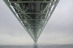 Akashi Kaikyo Bridge spans the Inland Seto Sea.Selective focus. Royalty Free Stock Photos