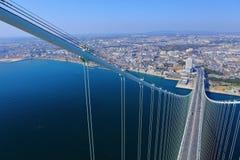 Akashi Kaikyo bridge viewing Kobe from top Royalty Free Stock Image