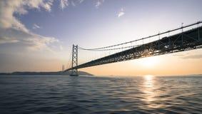 Akashi Kaikyo Bridge. The world's longest suspension bridge, Kobe, Japan Stock Images