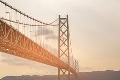 Akashi Kaikyo most w Kobe, Japonia długi zawieszenia brid Zdjęcie Royalty Free