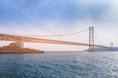Akashi longest suspension bridge over Kobe sea Stock Images