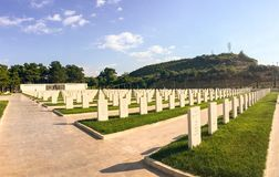 Akbas Martyrs& x27;公墓和纪念品& x28; Turkish& x29; 在1915年,土耳其第19 Division's机动性hos 库存图片