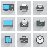 akcesoriów falcówek ikony biura set Obrazy Royalty Free