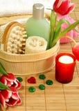 akcesoriów kąpielowego składu zdrój tulipan obraz stock