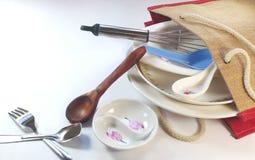 akcesoriów tła odosobniony kuchenny biel Zdjęcia Royalty Free