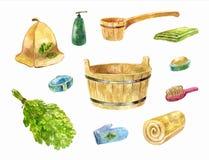 Akcesoria dla bathhouse Akwarela ustawiająca dębowa miotła, pelvis, Zdjęcia Stock
