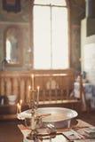 Akcesoria dla christening kąpać się w chrzestną chrzcielnicę Fotografia Royalty Free