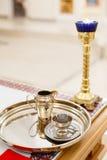 Akcesoria dla christening kąpać się w chrzestną chrzcielnicę Zdjęcia Royalty Free