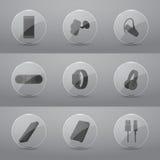 Akcesoria dla telefon komórkowy glansowanych ikon ilustracja wektor