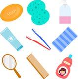 akcesoria do łazienki Akcesoria dla myć w łazience Washcloth, grępla, toothbrush, szampon ilustracji