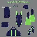 Akcesoria i odzież dla pływackich basenów Zdjęcia Stock